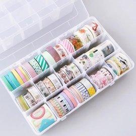15宮格收納盒 紙膠帶收納 物品收納 文具收納 居家收納 飾品 藥品 塑膠盒 收納盒