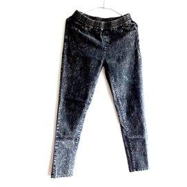 黑色 彈性 低腰 緊身 水洗牛仔褲 內搭褲 棉褲 休閒褲 丹寧褲 牛仔長褲