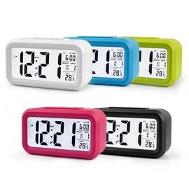 【易購】 LCD超大螢幕聰明燈鬧鐘 靜音 溫度顯示 夜光貪睡 鬧鐘 數字時鐘 萬年歷鐘錶