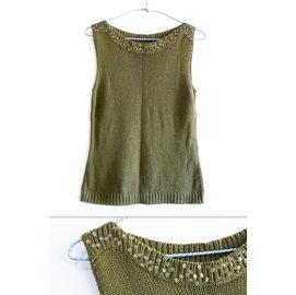 品牌專櫃ANDIA綠色無袖針織上衣 一字領氣質淑女款素色露肩顯瘦背心 珠珠滾邊針織衫