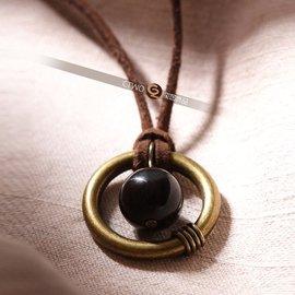 璽圖原創能量飾品天蠍座幸運石黑曜石皮繩項鏈男女中性款情侶項鏈