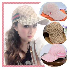女士古奇帽子 夏天戶外運動GUCCI棒球帽韓版太陽帽防曬鴨舌帽男士