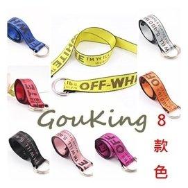黃  黑~Gou king~男女配飾紅縫線帆布鐵環潮流皮帶 8色  新上架2件  現 預