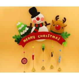 聖誕花圈材料包 DIY聖誕節佈置 掛飾 聖誕麋鹿吊飾 聖誕鈴噹門掛 雪人聖誕樹吊飾 聖誕布