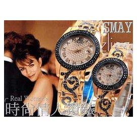 標就賣SMAYS時尚情人玫瑰金施華洛晶鑽對錶(滿天星面盤.復古雕紋鑲鑽錶帶)二八九 一元起標