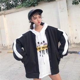【 】▲棒球服外套▲女生衣著 原宿風撞色立領寬鬆單排釦 長袖上衣 後背印花休閒顯瘦學院風簡
