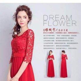 天使佳人婚紗禮服~~~~~~紅色中袖蕾絲禮服長款 實拍