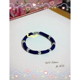 925純銀珠蠶絲蠟線手鍊