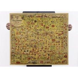 美國好萊塢Hollywood趣味地圖1928 圖紙牛皮紙懷舊復古電影海報 裝飾畫酒吧