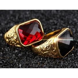 ~316小舖~~KC55~ 仿真金18K金戒指~ 寶石金戒指~單件價 可調整戒指 紅寶石戒
