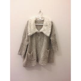 訂單for Angel Show  高貴柔軟暖毛拉鍊大衣外套 公主風好 修身針織白花領長
