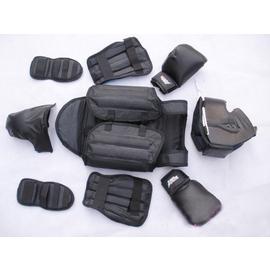 熱銷高品質專業散打護具(6件)跆拳道 拳擊護具 泰拳 (黑色 紅色)運動護具健身護具