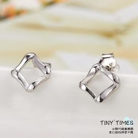 優速快購 925銀 方形耳釘男女士款情侶耳飾 正品耳環純銀飾品 【TINY TIMES-小