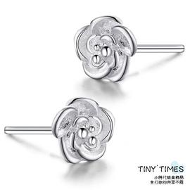優速快購 925銀耳釘女士款 玫瑰花韓國 氣質可愛純銀耳飾 正品【TINY TIMES-小