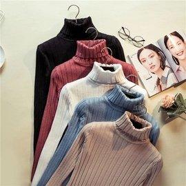 ~ ~▲長袖針織衫▲高領套頭打底衫修身素色素面上衣  保暖顯瘦女生衣著簡約 百搭韓妞 貨到