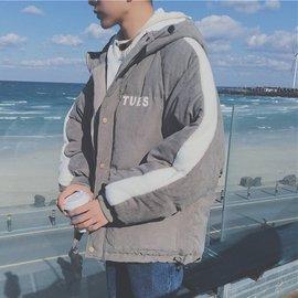羽絨外套 印花加厚保暖外套拼色連帽外套男外套