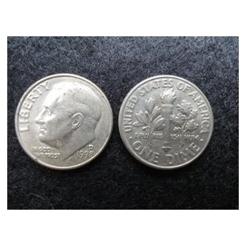 ~ 硬幣~美國1998年D記 10分 美金 one dime 稀有羅斯福總統