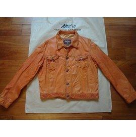 Marlboro Classics MCS万宝路经典原厂罗马尼亚制橘色仿旧牛皮LEVI'S牛仔夹克款皮衣L号(3009)