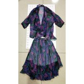 ~ 衣櫃~二件式套裝 氣質名媛海邊度假風波西米亞水墨印花雪紡上衣衫罩 性感顯瘦沙灘裙長裙