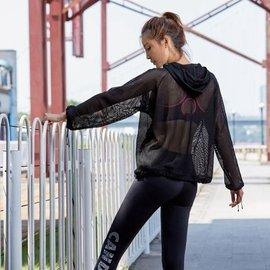 馬甲線 店 春秋款網紗 外套女 罩衫 連帽拉鏈開衫外套 健身衛衣瑜伽服 跑步上衣 長袖T