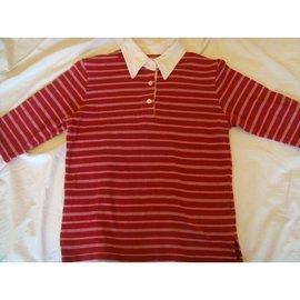 BOBSON  SUNSISTER S號紅色白條紋五分袖POLO衫