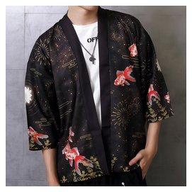 Ω衣枝獨袖Ω~310~日系和風金魚印花開衫和服寬鬆大碼男女和服外套