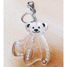 透明鑲鑽熊鑰匙圈 吊飾  水鑽