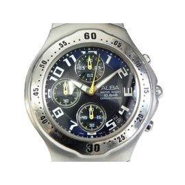 模型  三眼錶  ALBA 541471  精工副廠~雅柏三眼賽車錶 黑 藍面 計設
