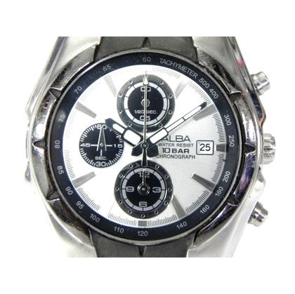 模型  三眼錶  ALBA 751880  精工副廠~雅柏三眼賽車錶 銀白面黑三眼 計