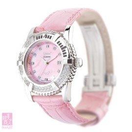 瑞士愛其華( OGIVAL ) 賞心系列粉時尚真鑽石英腕錶PINK