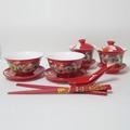 婚慶禮品餐具瓷器套裝結婚禮物餐具紅色龍鳳組合對杯對碗對勺