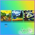 飾季藝術◇28*28*3件《星空》無框畫  民宿掛畫 壁畫複製畫餐廳沙發床歐德傢具