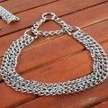 華 狗狗項圈脖套頸圈金毛杜賓猛犬中大型犬狗鏈寵物鐵鏈控制鏈 11002 銀色三排鐵鏈 -脖圍小於54