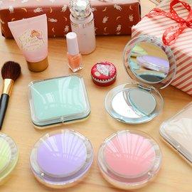 三年二班~家居 淡彩透明隨身化妝鏡子 馬卡龍色放大雙面便?鏡