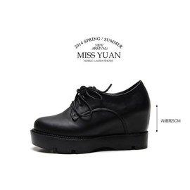 Pyf ? 韓系真皮高 小心機內增高 短靴 厚底?增高 裸靴 學生鞋 鬆糕鞋 加大44碼 大 女鞋