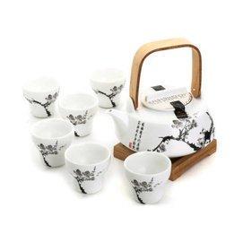 陶瓷茶具套裝 宜龍墨梅 水壺 功夫茶具 水墨梅提梁花茶壺