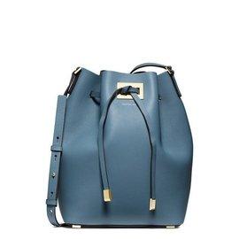 [葳葳美國代購]Michael Kors 藍色 水桶包真皮 MK 專櫃款 斜背包 二用包 肩背包 拖特背 限量款