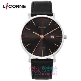 【JAYMIMI傑米】 力抗錶 LICORNE entree 極簡生活風日期顯示腕錶-銀框金刻度 LT056MWBB-R