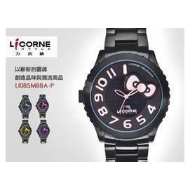 LICORNE x Hello Kitty 聯名錶款 43mm/立體錶盤/PK/藍寶石水晶鏡面/黑IP/力抗