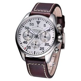 HAMILTON Khaki 航空計時機械錶(H64666555) 咖啡色皮