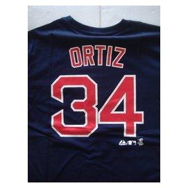 MLB 美國職棒大聯盟 波士頓紅襪 老爹 ORTIZ lt 深藍 短袖背號T恤 世界大賽MVP