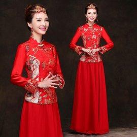 紅色旗袍長款長袖新禮服結婚敬酒服中式 套裝 裁剪: 刺繡