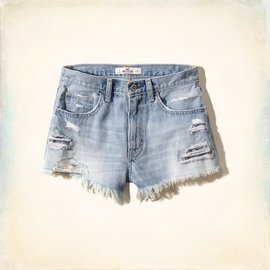 ~Cupio~Hollister Festival High Rise Shorts 刷破補貼不修邊牛仔短褲 5