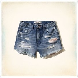 ~Cupio~Hollister Festival High Rise Shorts刷破口袋可愛 圖騰牛仔短褲 1