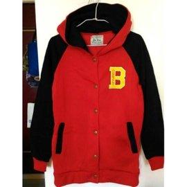 刷毛 黑紅配色 長袖 外套 棒球外套