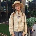 現貨+預購『梅雨衣』\n\n\n\n秋裝韓版復古百搭立領單排扣機車外套潮寬松顯瘦蝙蝠袖短款夾克女