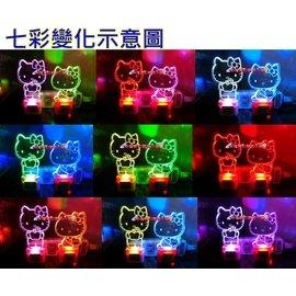 kitty娃娃 LED小夜燈~七彩變化小夜燈~hello kitty床頭燈~凱蒂貓小夜燈~kitty娃娃~三麗鷗正版授權