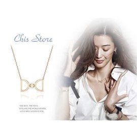 Chis store ~正韓國連線~ 來自星星的你 全智賢千頌伊 雙層愛心蝴蝶結雙D字母水鑽飾品項鍊 情人節