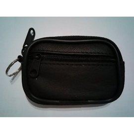 真皮 雙層 迷你 輕巧 零錢包 鑰匙包 黑色 可穿皮帶