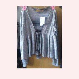 V領水玉點點灰色棉質防曬外套 罩衫 洋裝百搭 針織外套